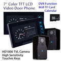"Free shipping! WD02KR22 7"" LCD Door Phone 8GB Intercom HD 2xCamera 2xMonitor DVR Home Security Doorbell"