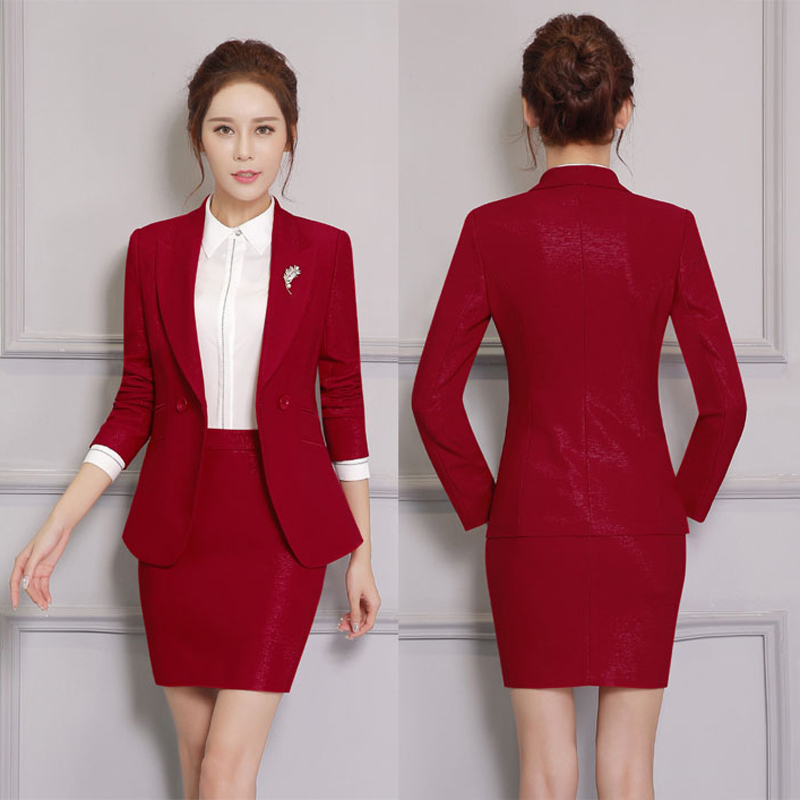 Double button Two Piece Ladies Formal Skirt Suit For Wedding ...
