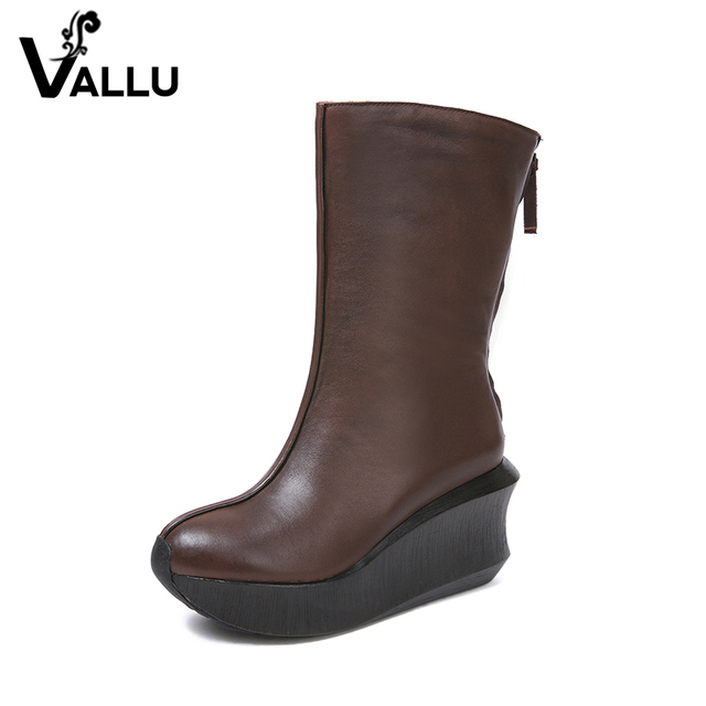 Half Wedge Boots Women Shoes 2018 Autumn Handmade Ladies Boots Natural Leather Vintage Round Toe Soft Women's Heel Shoes