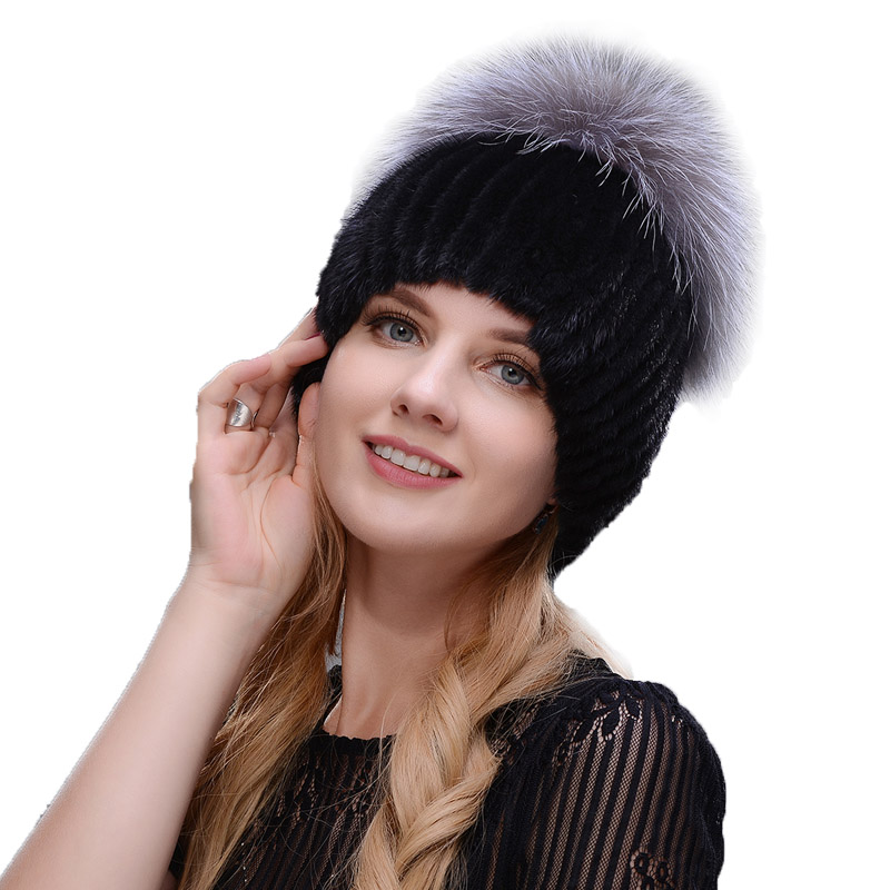 New Style Winter Hat Real Female Mink Fur Hat For Women Knitted Mink Fox Fur Cap