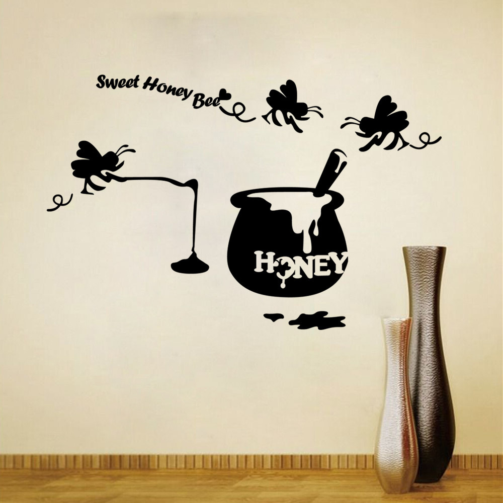 Sweet Honey Bee Wall Decals Home Decor Sticker Living Room