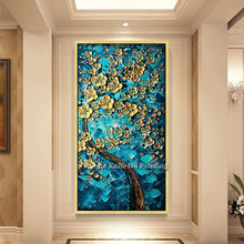 Canvas Painting palette knife 3D texture acrylic Flower painting Wall art Pictures For Living Room home decor cuadros decoracion