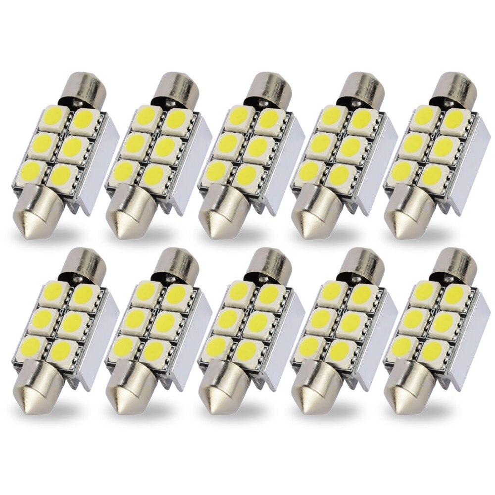 Safego 10x C5W 36 мм 39 мм 42 мм Светодиодная гирлянда Canbus плафон лампы 6 SMD 5050 ошибок водить автомобиль подкладке Подсветка регистрационного номера