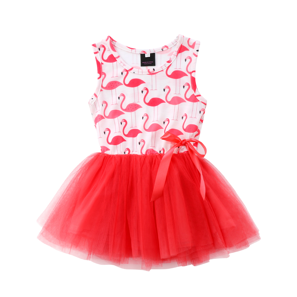 Helen115 Lovely Kids baby girl clothes Princess Flamingo Sleeveless Dresses Outfits 0-5Years