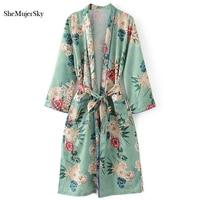 SheMujerSky Women Long Shirt Sashes Blue Blouse Floral Print Womens Tops Elegant V Neck Autumn Blouses