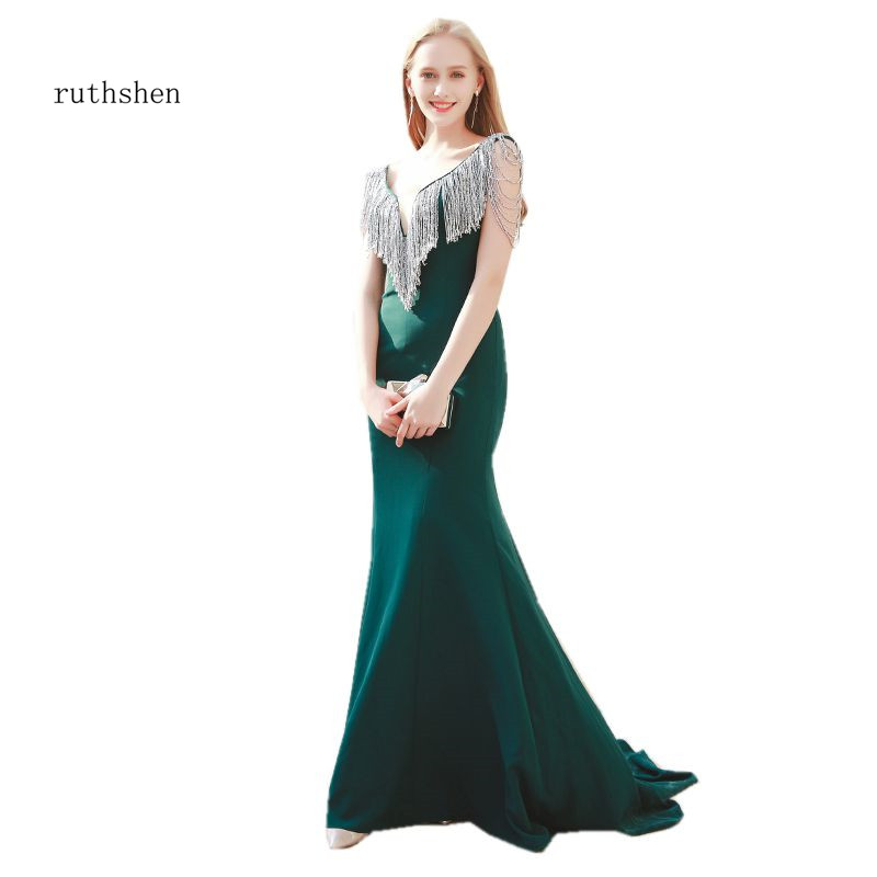 ruthshen Deep V-Neck Long   Evening   Gowns Dark Green Robes De Soiree Tassel Beaded Prom   Dress   Sexy Mermaid   Evening     Dresses