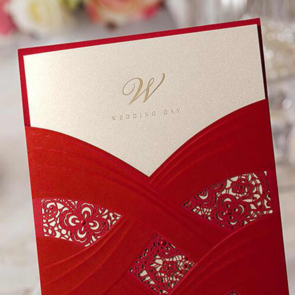 Personalized Wedding Invitations.1pcs White Red Elegant Laser Cut Personalized Wedding Invitations Card Envelopes Inner Card Party Supplies Free Shipping