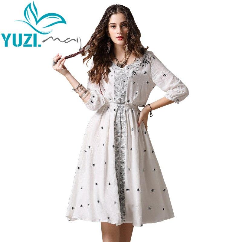 夏のドレス2018 yuzi. may自由奔放に生きる新しい綿vestidos vネックaライン膝ランタン袖ヴィンテージドレス女性A82101  グループ上の レディース衣服 からの ドレス の中 1