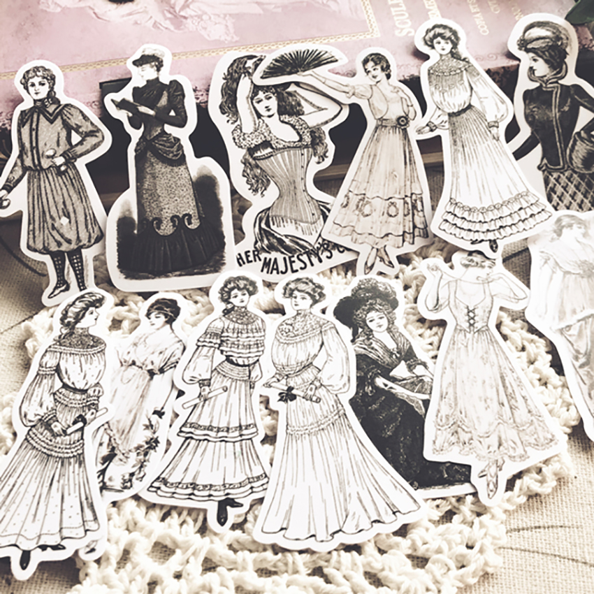 Vintage European Ladies Stickers DIY Scrapbooking Label Diary Sticker Retro Character Fashion Dress Design Decor Sticky Paper