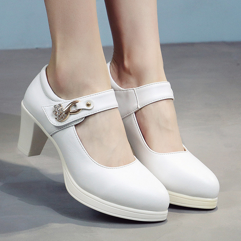 Pumps Mary Jane Shoes for Women Kitten Heel Ankle Strap Buckle Pointed Toe Ladies Shoes for Dancing Work Outdoor Party Wedding in Women 39 s Pumps from Shoes