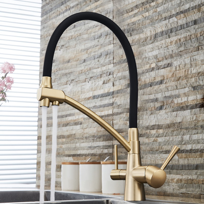 Waterfilter taps Chrome kitchen faucets Three Spout Deck Mounted Mixer Tap 360 Degree rotation Water Purification Feature Crane