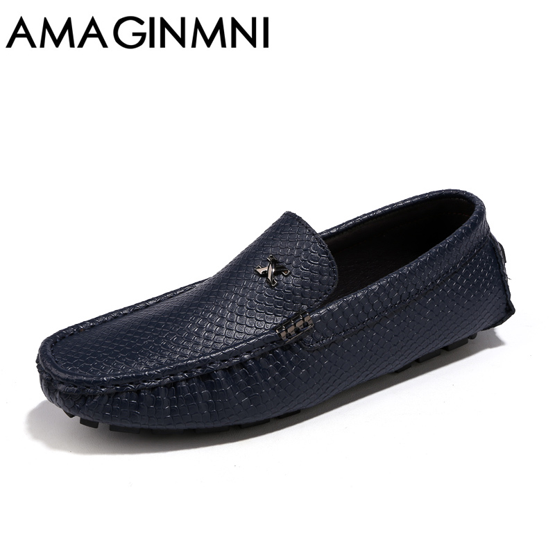 AMAGINMNI Brand Men's Casual Shoes Leather Men Loafers Luxury Fashion Male Boat Shoes superstar shoes Comfortable driving shoes