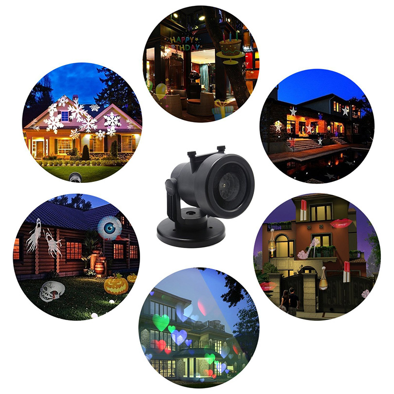 LED Landscape Projector Lights 12 Patterns Waterproof Snowflakes Garden Projector Lamp Lighting for Christmas,Halloween,Birthday