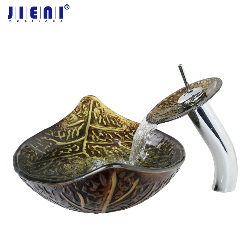 JIENI Great Gold leaf Vessel Washbasin Tempered Glass Sink With Brass Faucet Bathroom Washbasin Sink & Polished Faucet Mixer Tap countertop sink painting round bathroom faucet art washbasin tempered glass vessel sink with brass faucet sets