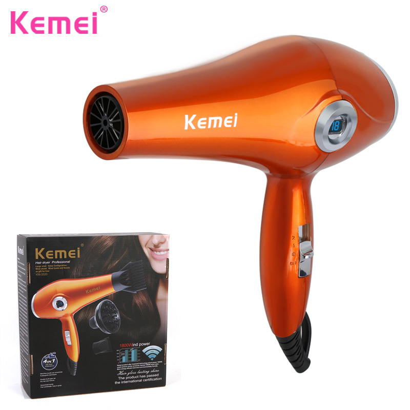 KEMEI Professional Hair Dryer LCD Display Hair Dryer Original Blow Dryer Anion Negative Ion Hairdryer Hot and Cold Secador BT234 professional hair dryer 2200w 220v ion hair care styling tools secador de cabelo fashion hot cold nano titanium hairdryer