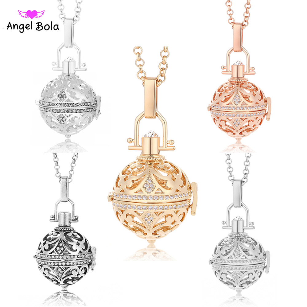 цена на 24mm Fragrance Pendant Oil Necklace Angel Bola Jewelry Music Ball for Women Long Stainless Steel Chain Necklaces NL048