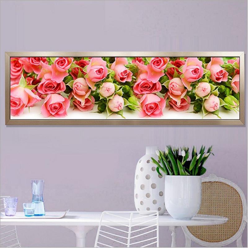 Ev ve Bahçe'ten Elmas Boyama Çapraz Dikiş'de 170X50CM tam Yuvarlak Elmas Boyama Çapraz Dikiş seti gül çiçekler resimleri Elmas nakış Diy Elmas mozaik çiçekler title=