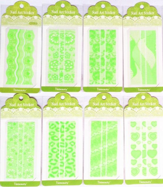 10 hoja de uñas verde pegatinas 3D de flores de diseño francés de ...