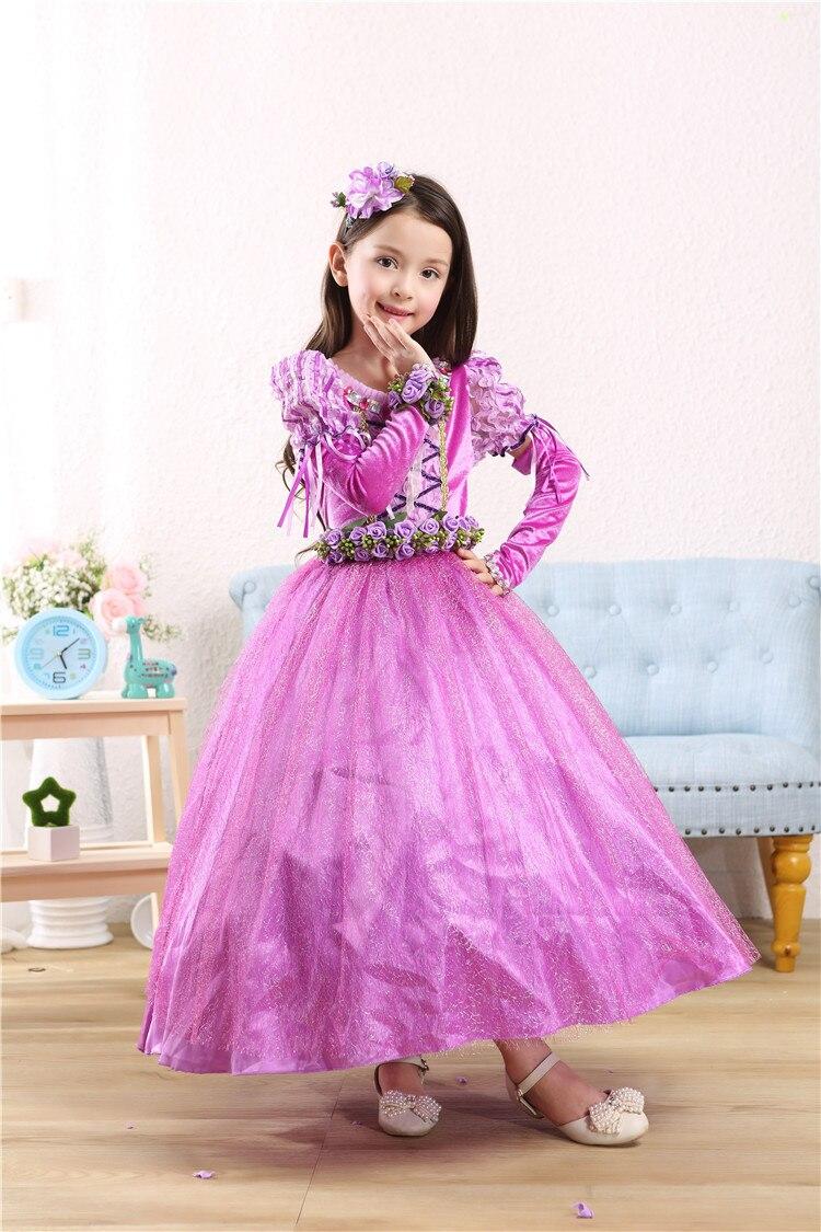 New Girls Party Dresses Kids Summer Princess Dresses for Girls Cartoon  Rapunzel Cosplay Costume Wedding Dresses
