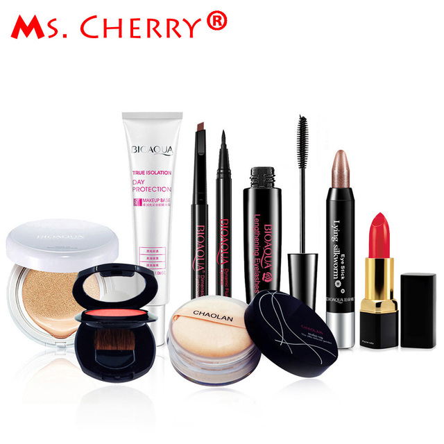 Sexy Red Make up Set BB Cream Blush Eyeliner Mascara Lipstick Finish loose Powder Kits for Lady Gift Sexy Queen MC003