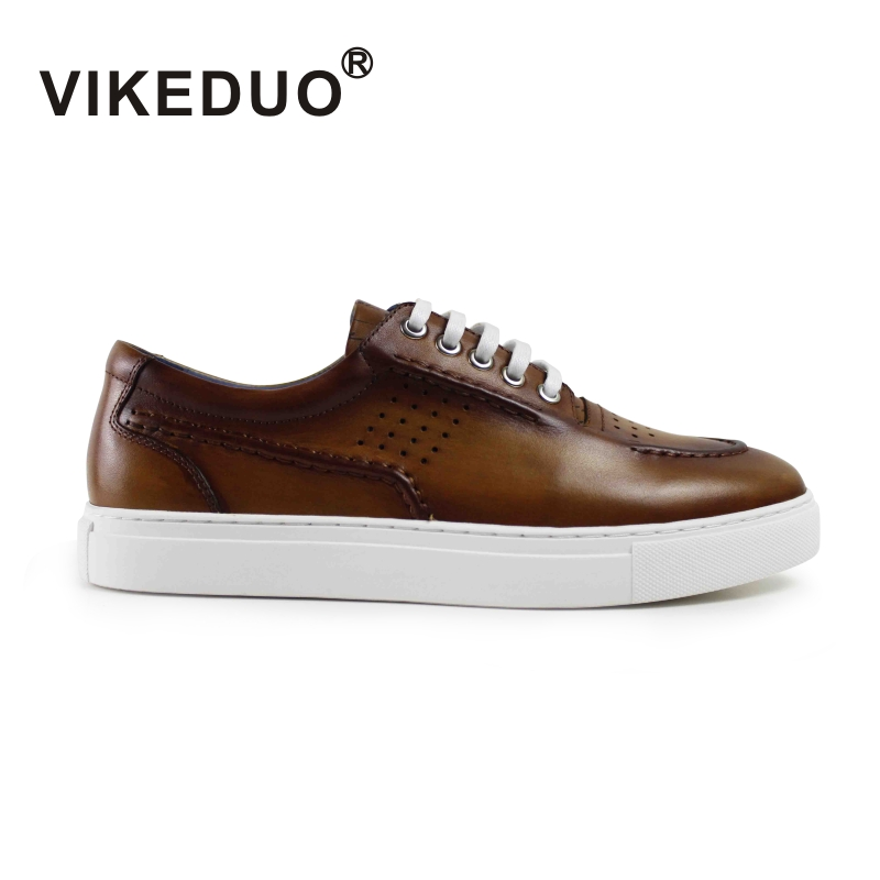 Vikeduo 2019 Handmade Vintage Male Genuine Leather Shoe Designer Fashion Leisure Party Wedding Brown Men s