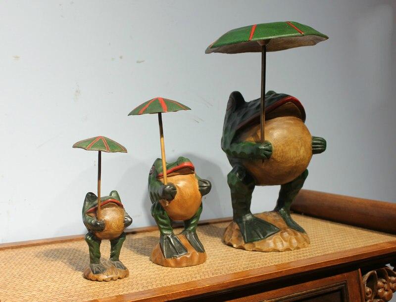 Gros thaïlande artisanat traditionnel en bois grenouille chanceux Art Figurines Miniatures décoratives décor de bureau à la maison - 4