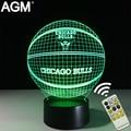 NBA Táctil lámpara de Mesa en 3D 7 Que Cambia de Color de Luz 3D Chicago toros 3d led novelty 3d night lights decoración mejor para los niños regalos