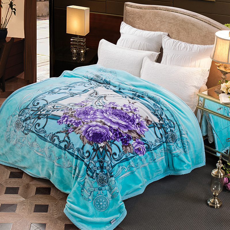 ARNIGU New purple Flower Luxury Winter Thick Blankets cyan color 200x230cm Double face super Soft Plaids Warm Bed sheet/Throw arnigu leaves printed winter bedding throw or quilt double face raschel blankets big size thick blanket warm bed sheet 200x230cm