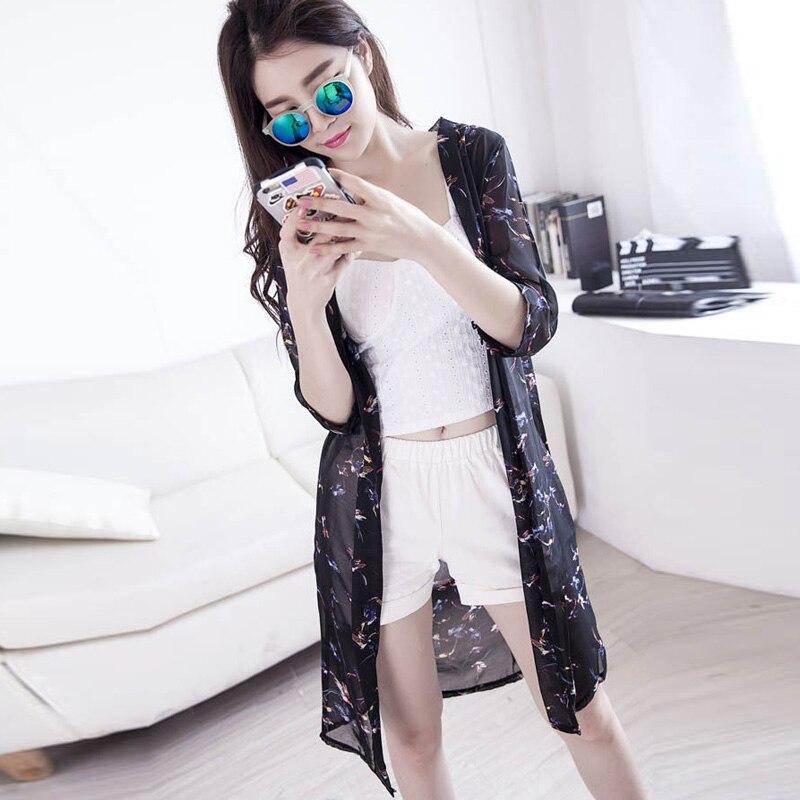 76c2f0795427 Blusas Mujer De Moda 2017 nueva blusa De chifón De verano De Mujer con  estampado De Kimono Casual cárdigan Blusas largas De protección solar De ...