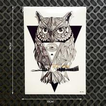 1PC Latest Designs Diamond Wise Owl Waterproof Tattoo Sticker GB454 3D Crystal Tattoo Car Styling Fake Flash Arm Tatoos