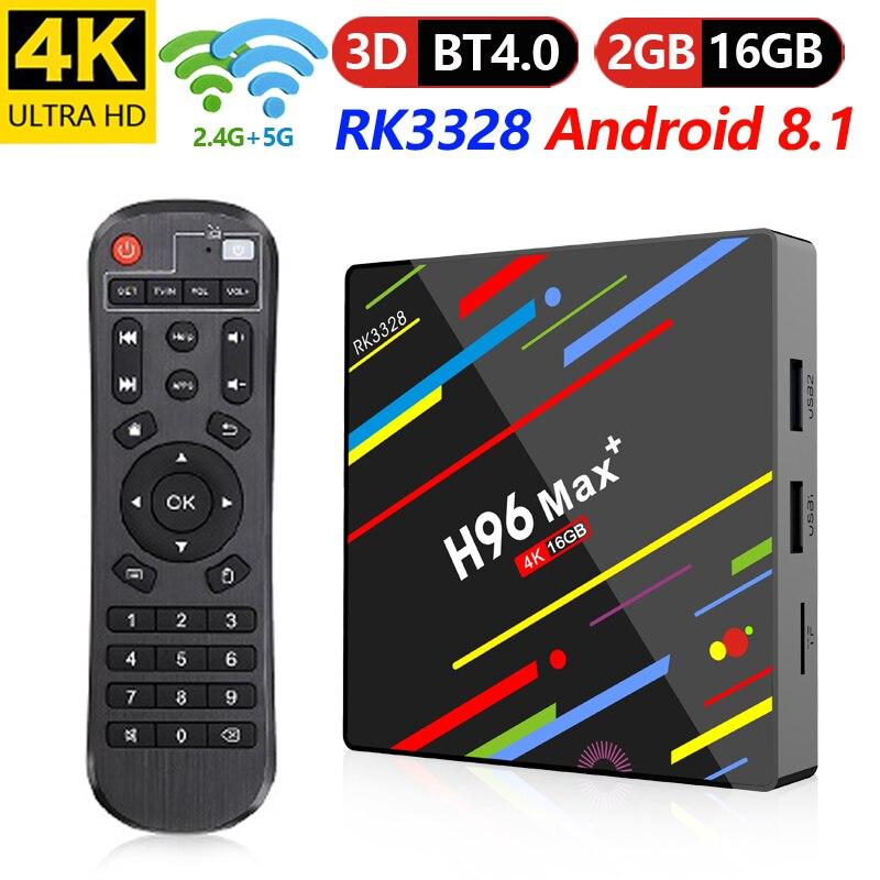 Android 8.1 Box TV inteligente H96 Max Plus 2 GB RAM 16 GB ROM Rockchip RK3328 H.265 4 K 2.4G/5 Ghz double WIFI TVbox pk Mi S X96