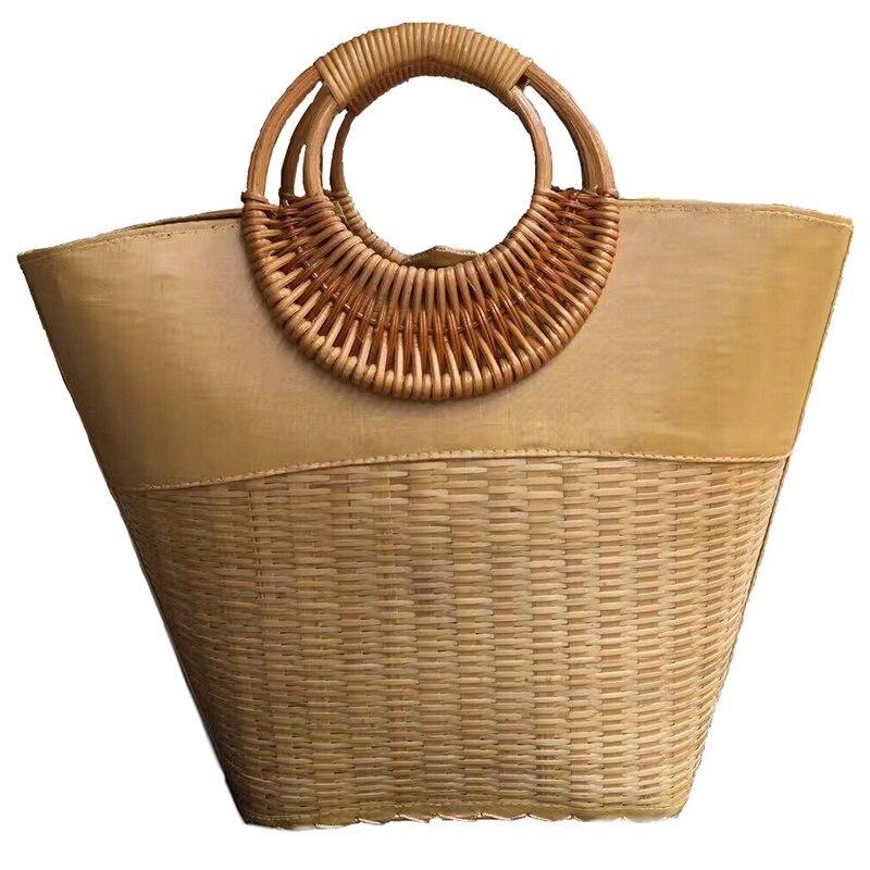 Version thaïlandaise de mode sac à main sac à main sac en rotin sac à main rétro sac de plage voyage paquet de vacances