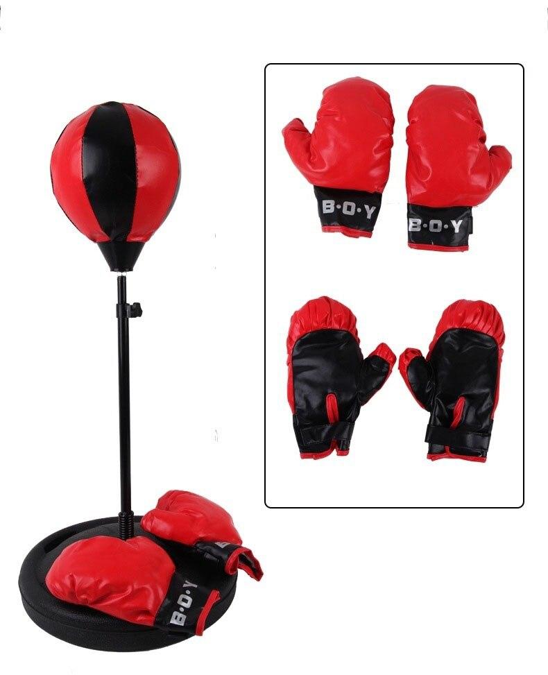 Réglable Fitness boxe poinçon poire vitesse balle détendu boxe sac de boxe sac de vitesse pour enfants + gant + pompe + Base + poteaux