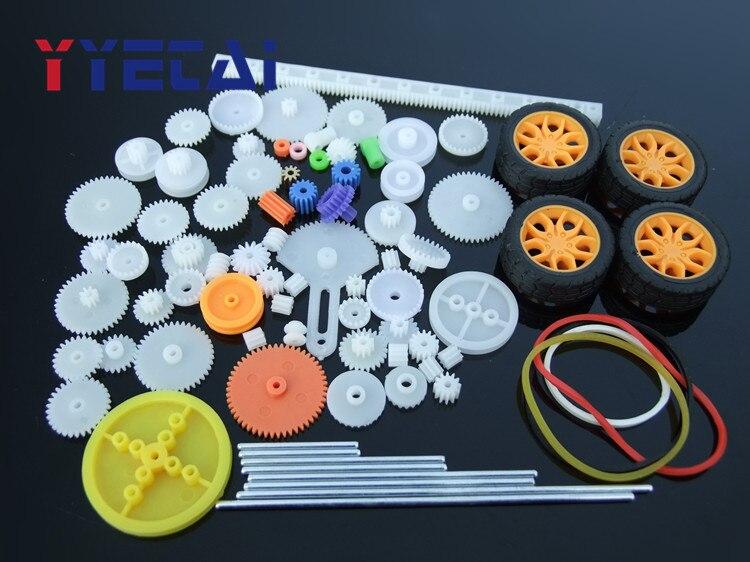 YongYeTai 78 Uds caja de cambios juguete robot motor plástico engranaje DIY modelo accesorios envío gratis Adecuado para la modificación del coche 92-00 Kit de buje de transmisión de poliuretano rojo