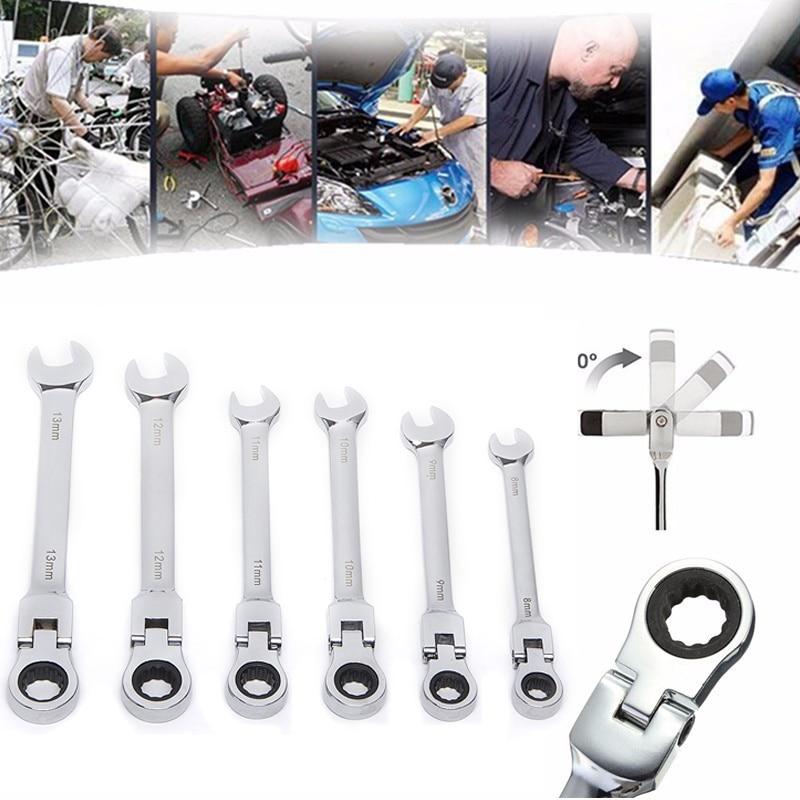 6pcs chiave a cricchetto combinazione testa flessibile 8-13mm - Utensili manuali - Fotografia 1