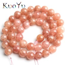 Sunstone Beads Round Loose Spacer Beads Natural Stone 15''Strand 4/6/8/10/12mm Angelite Stone For Jewelry Making DIY Bracelets