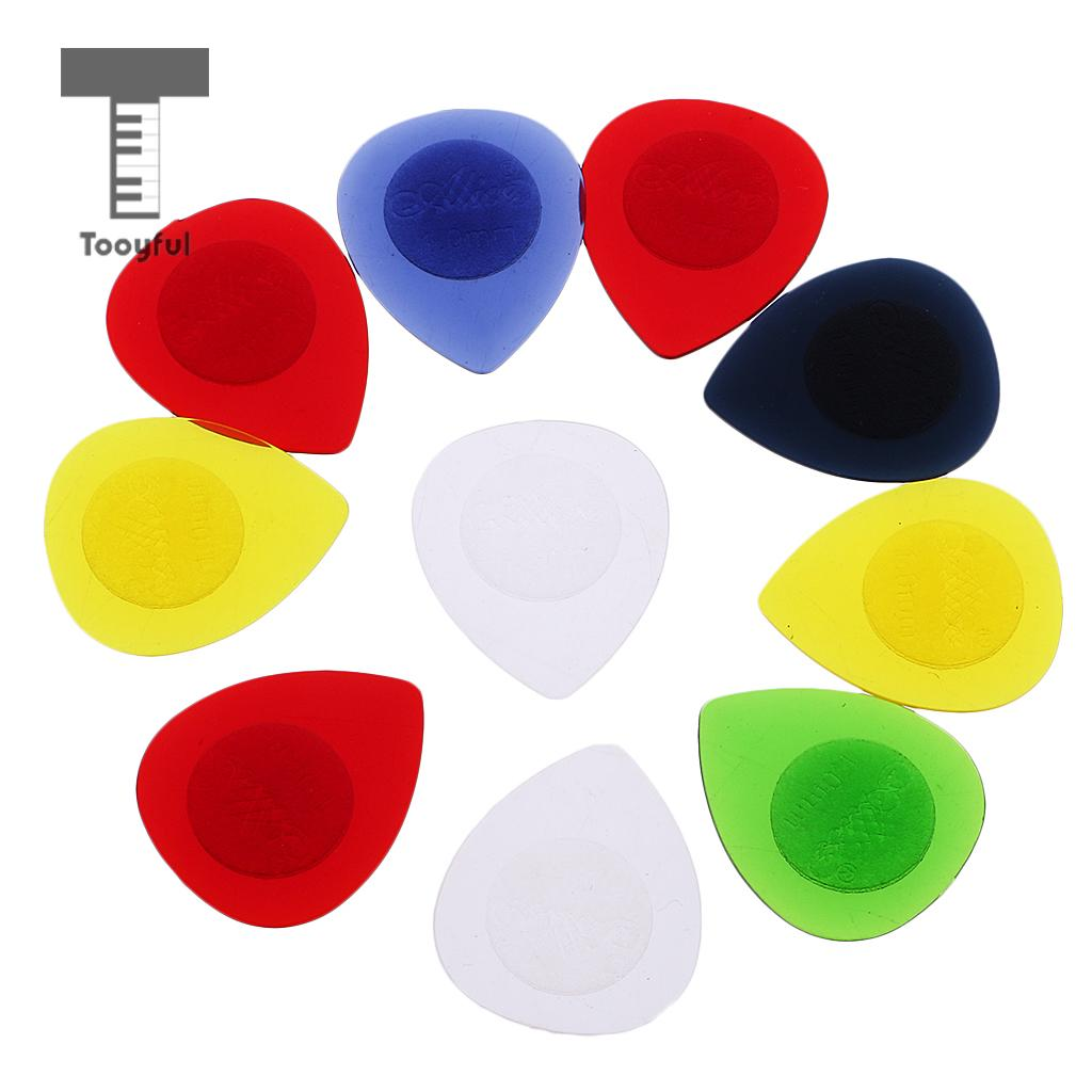 Tooyful Excellent Quality 10Pcs Plastic Acoustic Electric Bass Guitar Picks Plectrums Pickup Case 1mm Thickness Guitar Accessory
