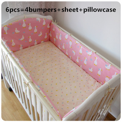 Promotion! 6PCS Cotton Baby Bedding Set baby bedclothes Cot bed Sheet Cartoon crib bedding set,(bumpers+sheet+pillow cover)