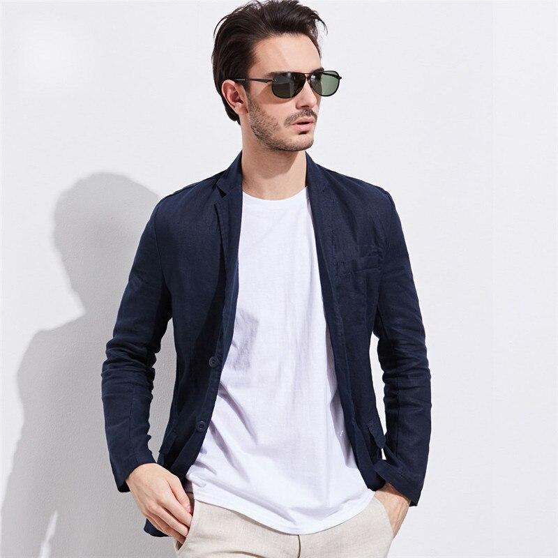 Пиджак человек новый 100% льняной костюм куртка Демисезонный с длинным рукавом большой Размеры две кнопки костюм мужской пиджак Повседневно...