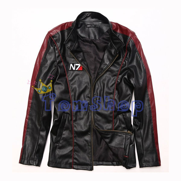 Mass Effect 3N7 Sheperd stylish leather zipper jacket Motorcycle jacket Costume