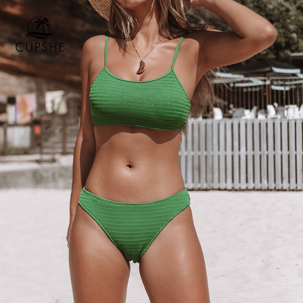 CUPSHE Green Smocking Bikini Sets Women Solid Two Pieces Swimsuits 2020 Girl Sexy Bathing Suits Swimwear