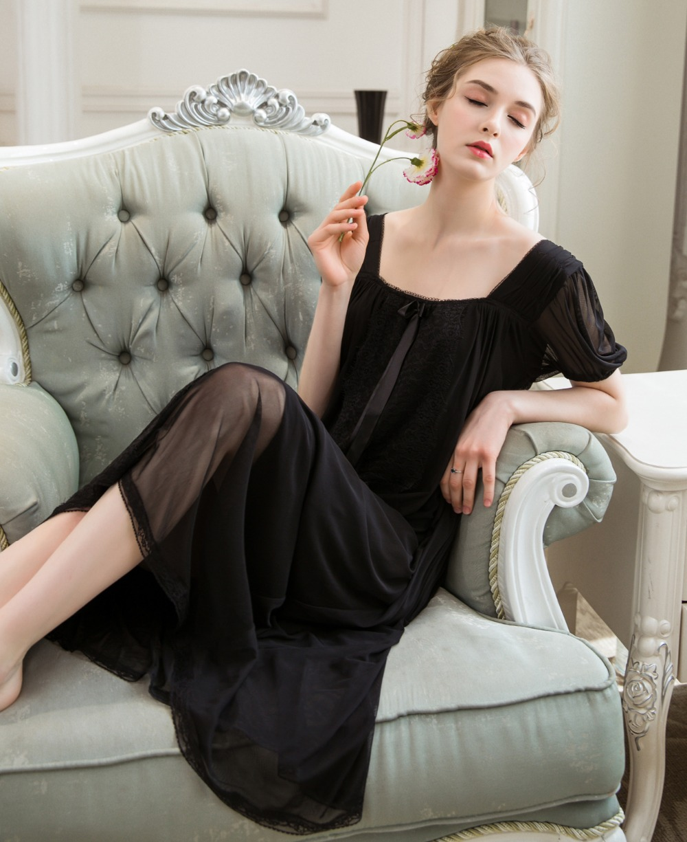 2018 New Black Multilayered Lace Nightwear Women   Nightgowns     Sleepshirts   Ladies Nightdress Sleepwear Garden Beach Dress 0290#