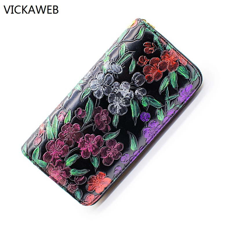 floral pattern women wallets brand pu leather wallet high quality zipper women purses long ladies coin purse with handle 2016 brand design high quality women genuine leather vintage wallet cowhide coin purse oil waxing purses zipper pocket wallets