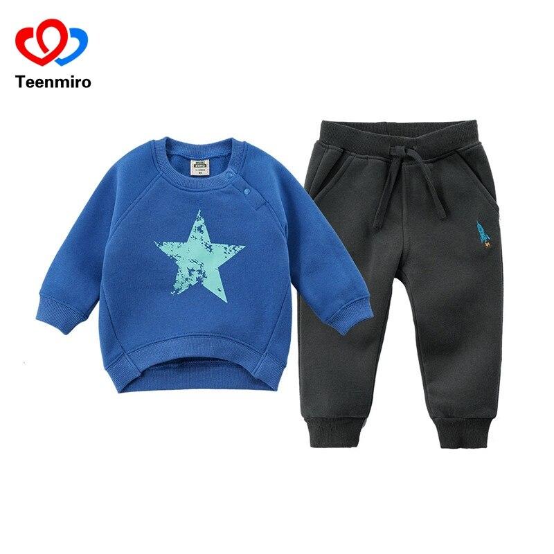 Мода весна дети мальчики мультфильм спортивные костюмы Комплекты одежды для маленьких девочек футболка + брюки костюм для малышей Детская ...