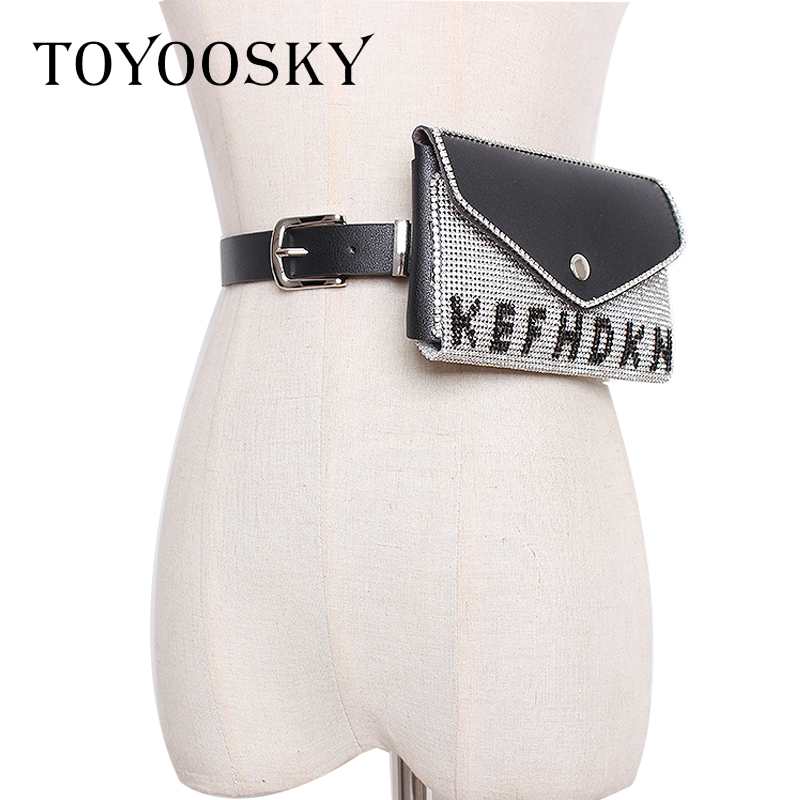 Designer Luxury Women Bag Belt Rhinestone Bling Waist PU Phone Pouch Fanny Pack Small Belt High Quality Belt for Female TOYOOSKY in Women 39 s Belts from Apparel Accessories