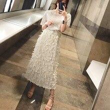 Style Korean Version of The Fresh Sweet Womens Pleated Skirt Feathers Tassel 2019 Straight Skirts Women