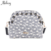 Aelicy Women Floral PU Leather Shoulder Bag Female Lace Printing Bag High Quality Women Shopping Handbags