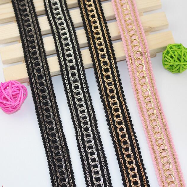1927fa80e9 20yards Craft Black Braided Trim Gold Chain Trim Decorated Ribbon ...