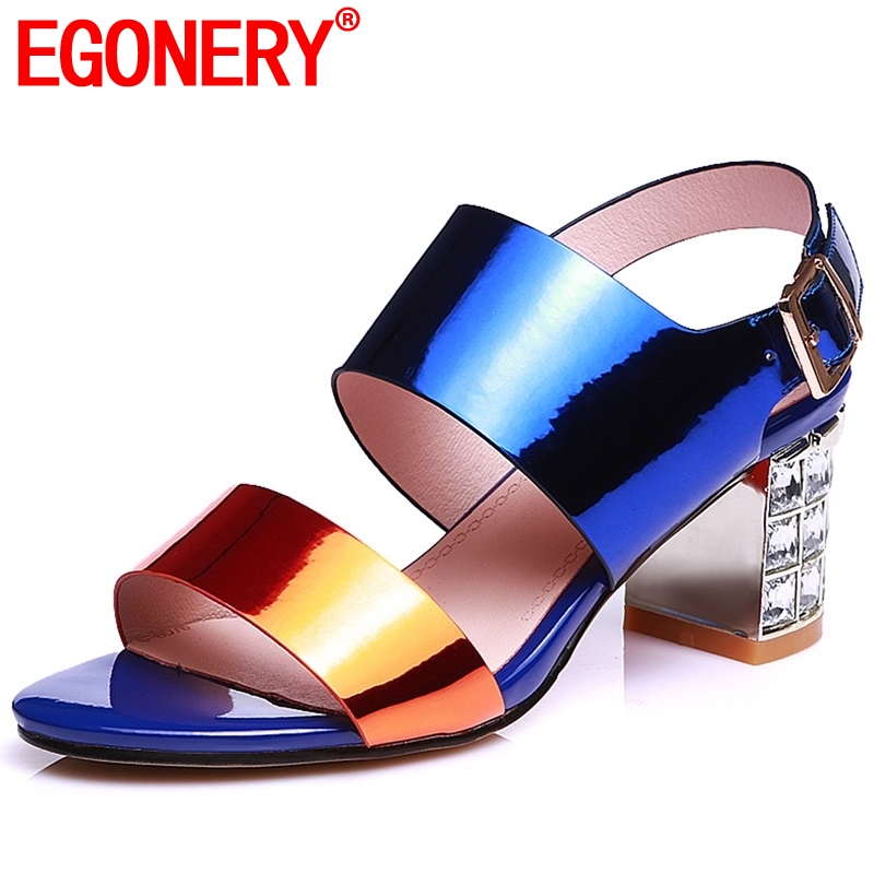 EGONERY plus size woman Genuine Leather sandals Colorful Mixed Colors blue Fashion girl party high heels
