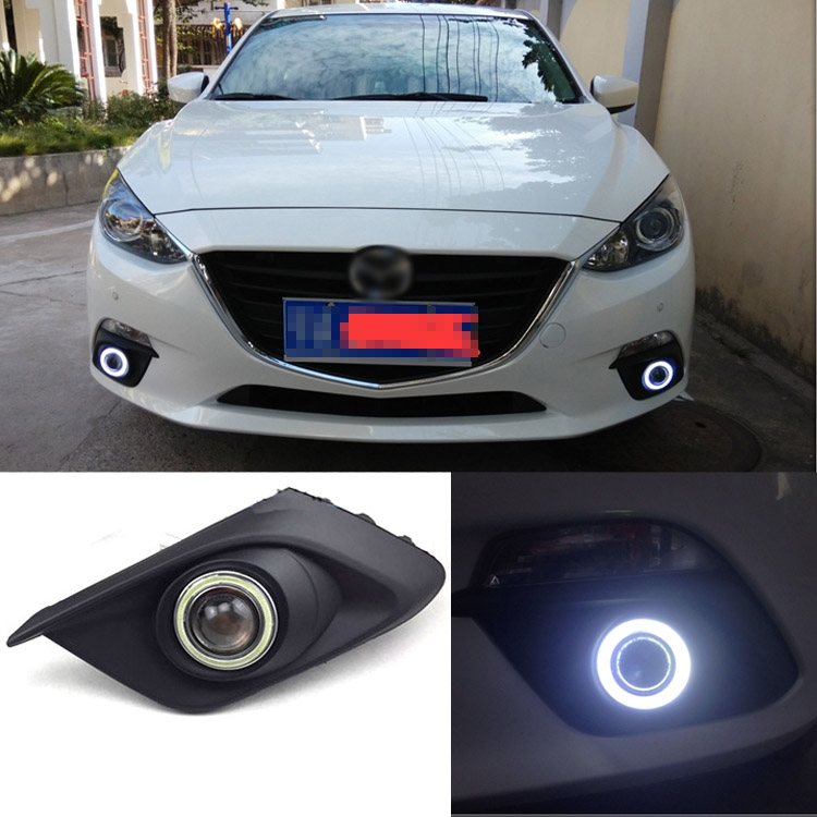 Ownsun Superb 55W Halogen Bulbs COB Fog Lights  Source Angel Eye Bumper Cover For Mazda 3 Axela 2014 ownsun innovative super cob fog light angel eye bumper cover for skoda fabia scout